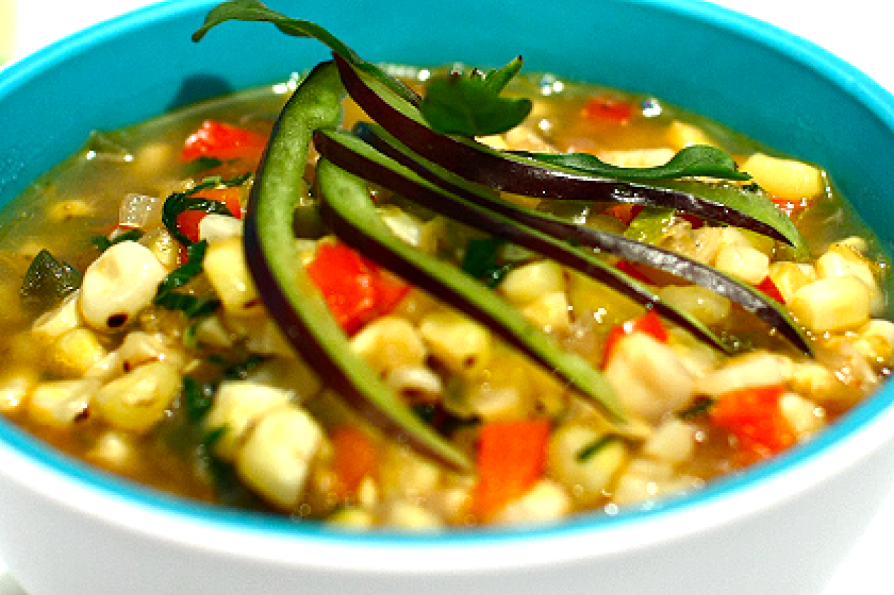 ... » Grilled Corn and Chili Lime Soup Recipe: Salute, Summer Market
