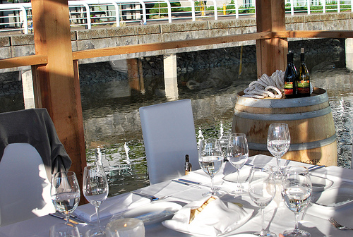 Table setting on SS Floating Dining Room.