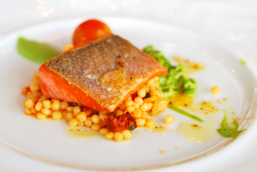 Wild salmon with Israeli Couscous