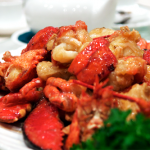 2 lobsters cooked superior broth