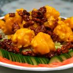 Winner: crispy prawns in mango apricot sauce, honey walnuts