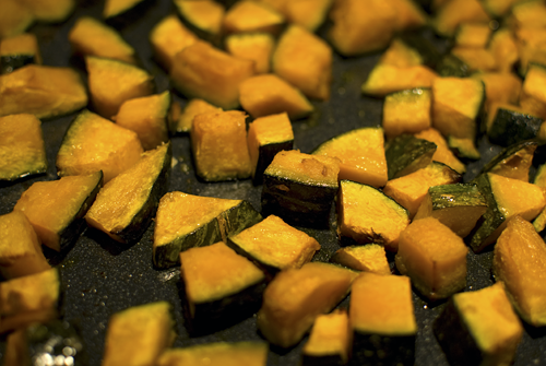 roasted kabocha for roasted vegetable salad recipe by Melody Fury