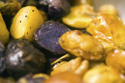 Blue potato fingerling potato roasted in rosemary