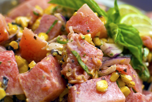 Watermelon Salad with Grilled Corn, Olives, and Goat Cheese Recipe by Melody Fury