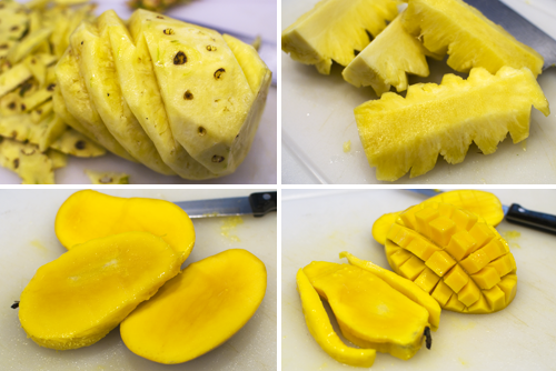How to carve pineapples and mangoes by Melody Fury