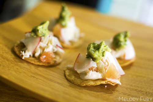 crab, grapefruit and avocado tostata by Melody Fury