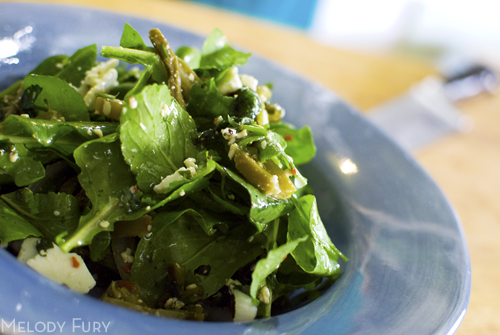 Nopales and arugula salad with roast poblanos and queso fresco by Melody Fury