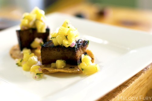 Pork belly and pineapple tostatas by Melody Fury