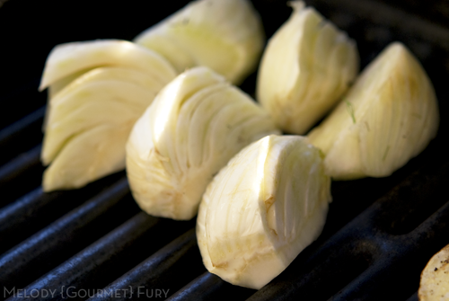 Grilling fennel for Hatch Green Chile Pepper Salad by Melody Gourmet Fury