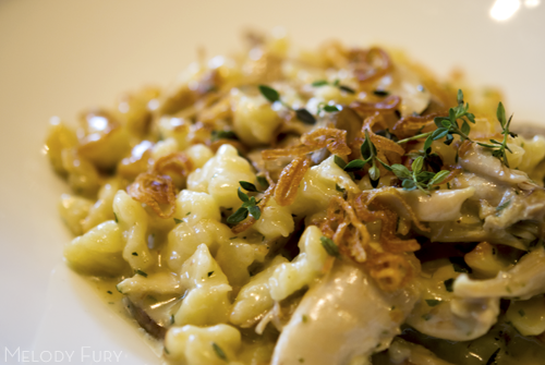 Chicken spaetzle at Gruner in Portland by Melody Gourmet Fury
