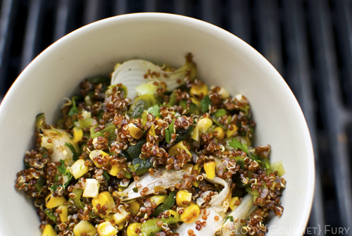 Grilled poblano quinoa salad by Melody Fury