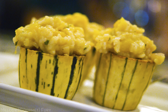 One Love Farms delicata squash and sage risotto served in delicata squash cup at Gumboot Dinner at Seasonal 56 Restaurant in Langley, BC by Melody Gourmet Fury