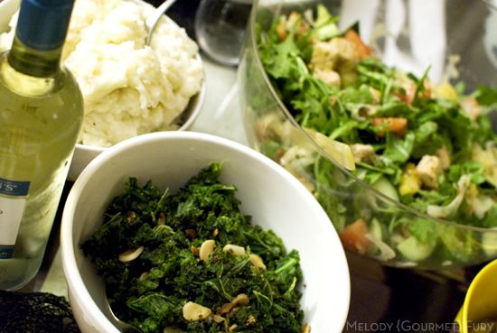 Japanese miso salad dressing and kale for Thanksgiving by Melody Gourmet Fury