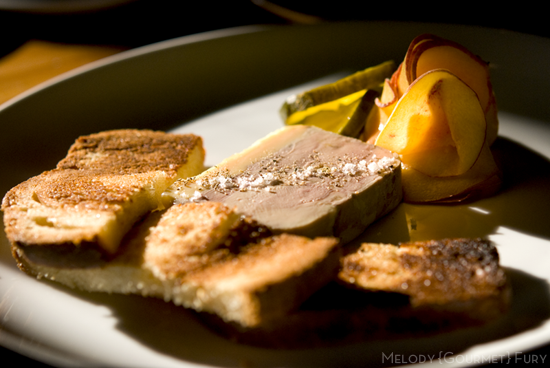 Foie gras paté with pickled peaches at Foreign and Domestic in Austin, Texas by Melody Gourmet Fury