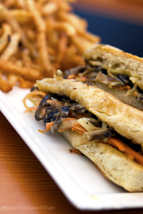 Pig's ear sandwich at Olivia Restaurant in Austin, Texas by Melody Gourmet Fury