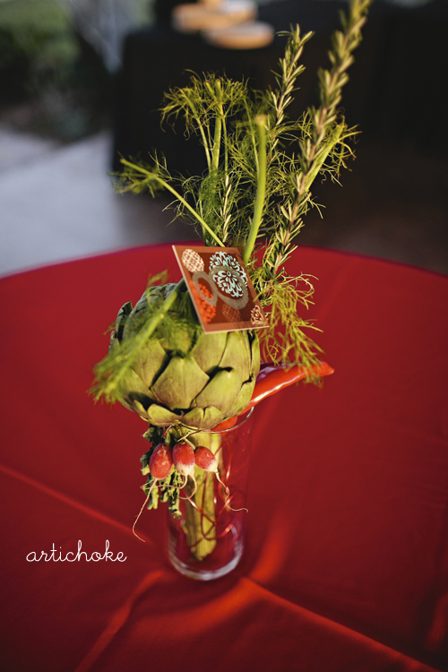 Unique wedding bouquet, boutineers, and arrangements with vegetables for food lovers by Melody Gourmet Fury