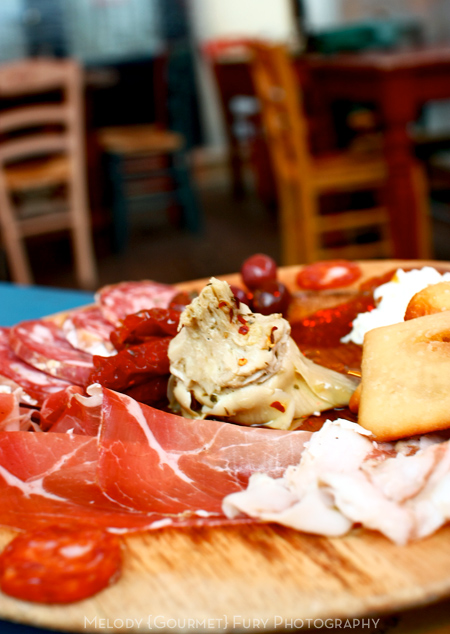 Cured meats at Ristorante Trattoria ZaZa Firenze in Florence Italy by Melody Fury Photography. Food, Drink, Restaurant Photographer and Writer in Vancouver BC and Austin TX