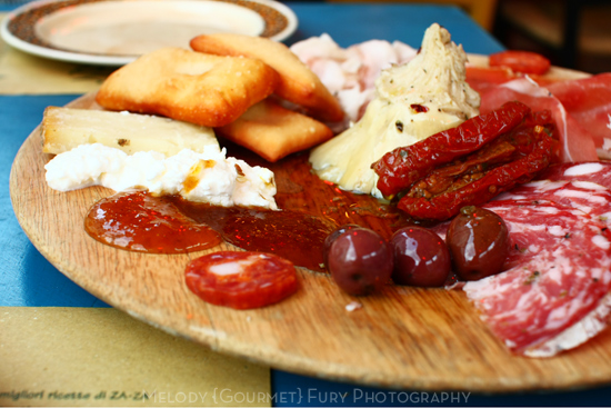 Charcuterie at Ristorante Trattoria ZaZa Firenze in Florence Italy by Melody Fury Photography. Food, Drink, Restaurant Photographer and Writer in Vancouver BC and Austin TX