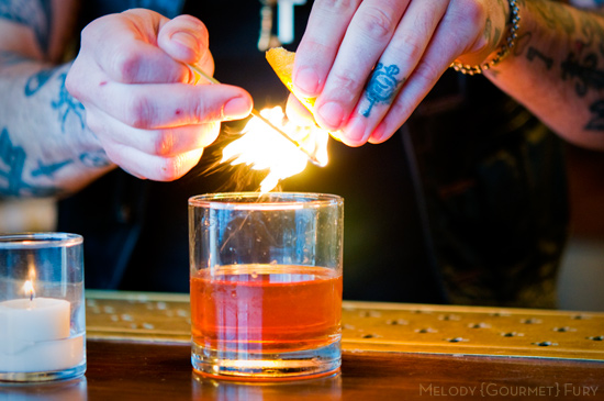 Duck Fat Sazerac - a whiskey cocktail from Haddingtons in Austin, TX by Melody Gourmet Fury