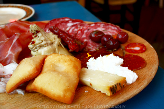 Fried bread and charcuterie at Ristorante Trattoria ZaZa Firenze in Florence Italy by Melody Fury Photography. Food, Drink, Restaurant Photographer and Writer in Vancouver BC and Austin TX