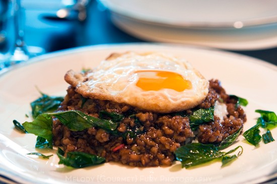 Thai basil beef on rice with fried egg at Sevva Restaurant in Hong Kong by Melody Fury Photography. Food, Drink, Restaurant Photographer and Writer in Vancouver BC and Austin TX