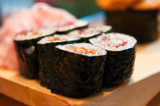 Ikura and maguro maki at Daiwa Sushi Restaurant at Tsukiji Market in Tokyo Japan by Melody Fury Photography. Food, Drink, Restaurant Photographer and Writer in Vancouver BC and Austin TX