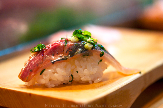 saba mackerel nigiri at Daiwa Sushi Restaurant at Tsukiji Market in Tokyo Japan by Melody Fury Photography. Food, Drink, Restaurant Photographer and Writer in Vancouver BC and Austin TX