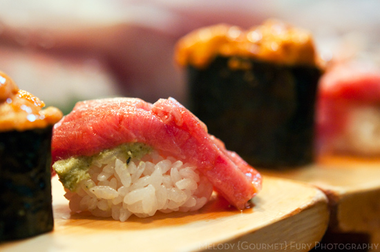 Toro fatty tuna and uni nigiri at Daiwa Sushi Restaurant at Tsukiji Market in Tokyo Japan by Melody Fury Photography. Food, Drink, Restaurant Photographer and Writer in Vancouver BC and Austin TX