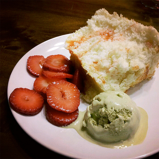 Angel food cake with homemade matcha ice cream and brandy strawberries [home] by Melody Fury Photography. Food, Drink, Restaurant Photographer and Writer in Vancouver BC and Austin TX