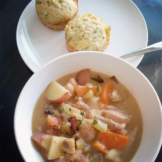 Chicken pot pie with cheesy jalapeno corn bread muffin at home  by Melody Fury Photography. Food, Drink, Restaurant Photographer and Writer in Vancouver BC and Austin TX