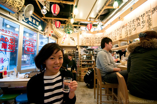 Drinking sake at Late Night Restaurants in Shinjuku Tokyo by Melody Fury Photography. Food, Drink, Restaurant Photographer and Writer in Vancouver BC and Austin TX