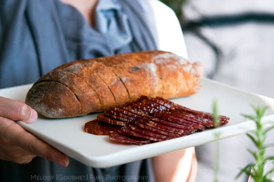 Bread and salami  at Chefs in Residence by Butter on the Endive by Melody Fury Photography. Food, Drink, Restaurant Photographer and Writer in Vancouver BC and Austin TX