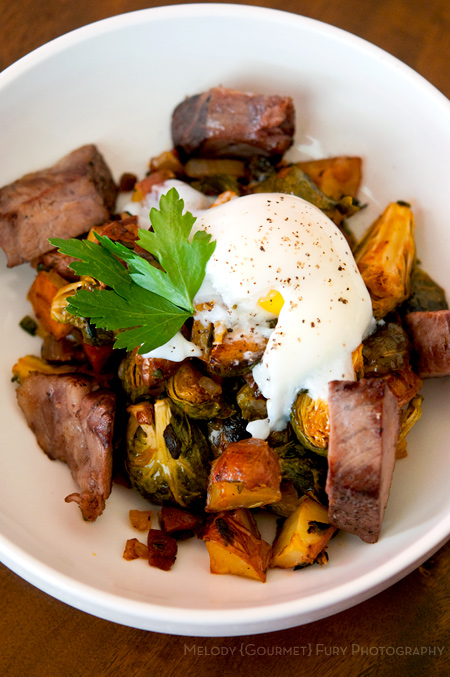 Klondike Rose Brussel Sprouts Hash with Rib Eye Steak and Sous Vide Egg by Melody Fury Photography. Food, Drink, Restaurant Photographer and Writer in Vancouver BC and Austin TX