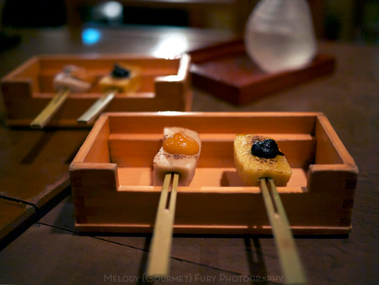 Grilled mochi at 豆腐料理 空ノ庭 tofu restaurant in Tokyo Japan by Melody Fury Photography. Food, Drink, Restaurant Photographer and Writer in Vancouver BC and Austin TX