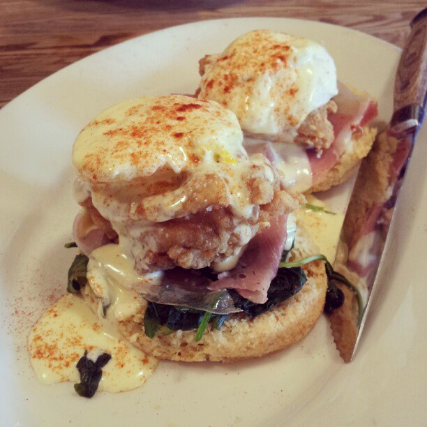 Fried chicken eggs benedict at Haddingtons by Melody Fury | Food, Drink, Restaurant Photographer and Writer in Austin TX and Vancouver BC