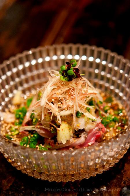 Chicken sashimi tataki salad at Yakitori Akira Grilled Chicken Restaurant 焼鶏 あきら in Naka-meguro, Tokyo Japan
