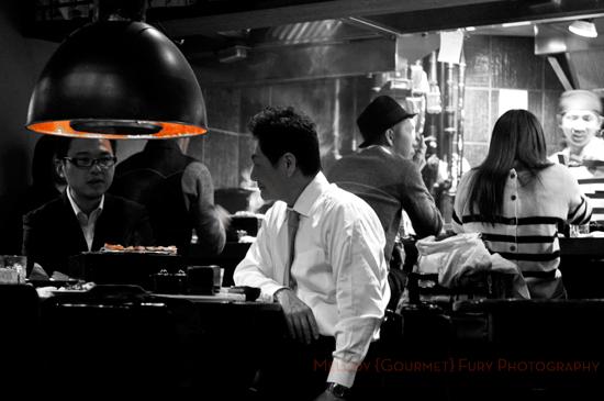 Diners at Yakitori Akira Grilled Chicken Restaurant 焼鶏 あきら in Naka-meguro, Tokyo Japan