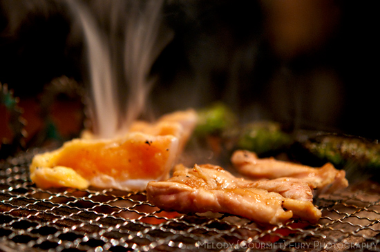 Chicken on the grill at Yakitori Akira Grilled Chicken Restaurant 焼鶏 あきら in Naka-meguro, Tokyo Japan