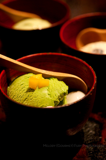 Matcha ice cream at Yakitori Akira Grilled Chicken Restaurant 焼鶏 あきら in Naka-meguro, Tokyo Japan