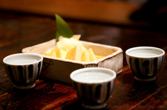 Pickles and sake at Yakitori Akira Grilled Chicken Restaurant 焼鶏 あきら in Naka-meguro, Tokyo Japan