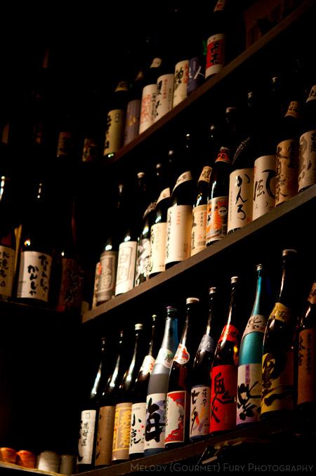 Wall of sake at Yakitori Akira Grilled Chicken Restaurant 焼鶏 あきら in Naka-meguro, Tokyo Japan