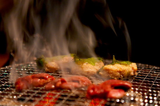 Chicken innards on the grill at Yakitori Akira Grilled Chicken Restaurant 焼鶏 あきら in Naka-meguro, Tokyo Japan