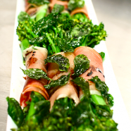 Prosciutto Wrapped Broccolini with Basil Crisps Recipe