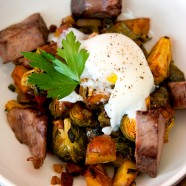 Klondike Rose Potato and Brussels Sprout Hash with Rib Eye Steak and Sous Vide Egg Recipe