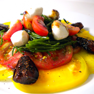 Heirloom Tomato and Sea Asparagus Salad with Balsamic Glazed Figs Recipe