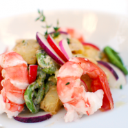 Spot Prawns on Rainbow Radish and Fiddlehead Potato Salad Recipe + Battle Radish Winners