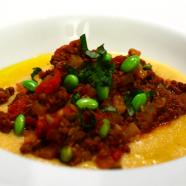 Daikon Edamame Ragù on Creamy Sage Polenta Recipe