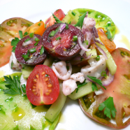Bouchon's Marinated Squid Salad Recipe with English Cucumber and Tomatoes